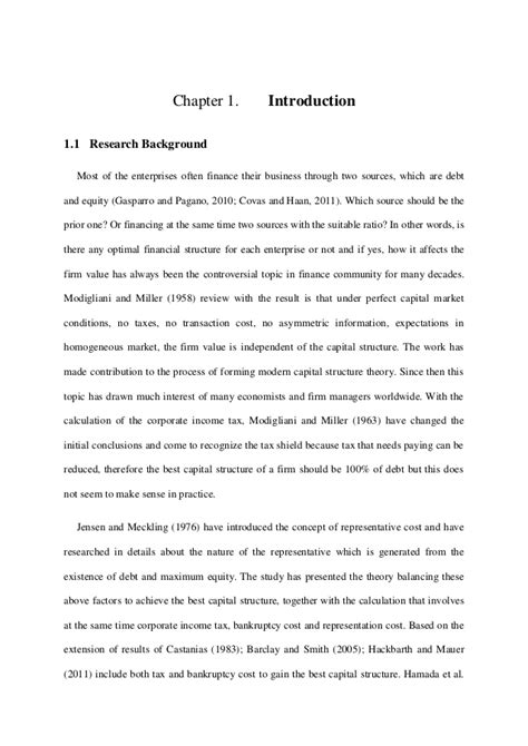 capital structure dissertation optimal capital structure master thesis