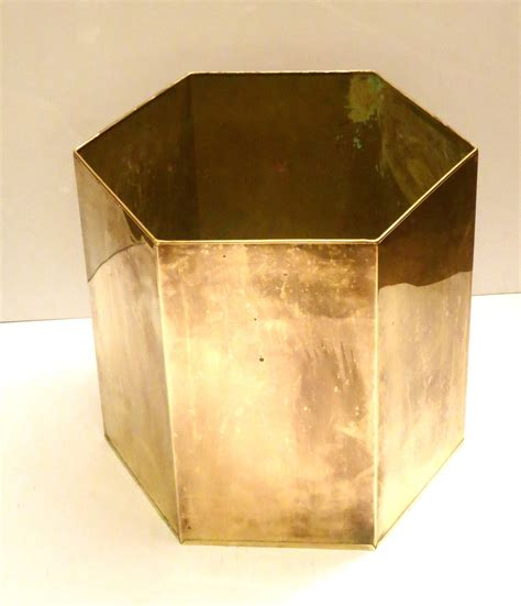Large Brass Planter by Hexagonal Large Brass Patinated Planter Jardiniere At 1stdibs
