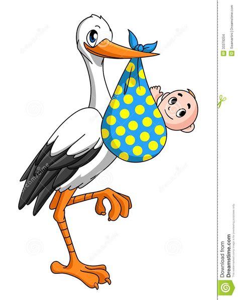 clipart neonati cicogna con il neonato illustrazione vettoriale