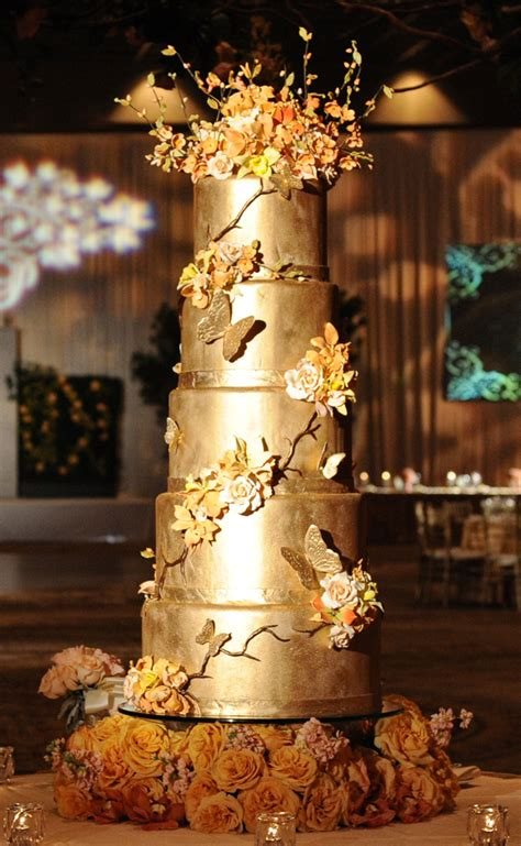 Golden Wedding Cakes by Metallic Wedding Cakes The Magazine