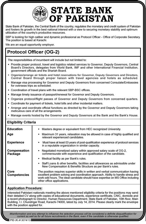 State Bank Application State Bank Sbp Protocol Officer Og 2 2014 Eligibility