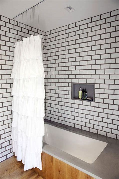 how to whiten grout in bathroom subway tile dark grout ruffle shower curtain in bathroom