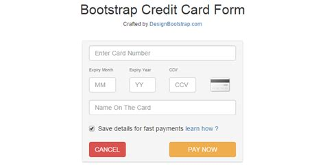 Credit Card Template In Bootstrap Bootstrap Templates For Web Developers