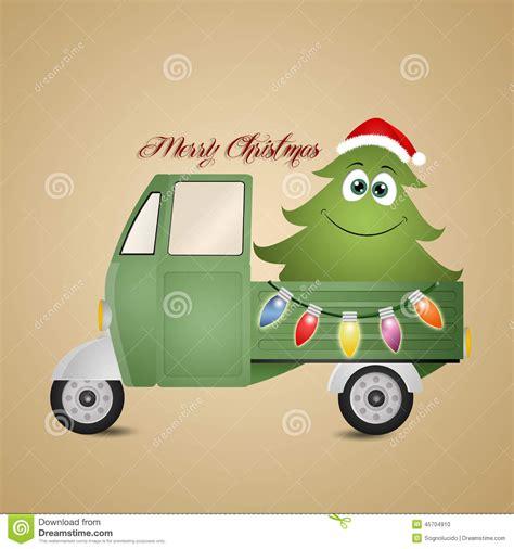 lustiger weihnachtsbaum im lkw stock abbildung bild