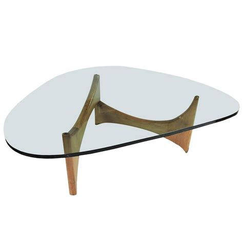 mid century modern glass and wood coffee table for sale at