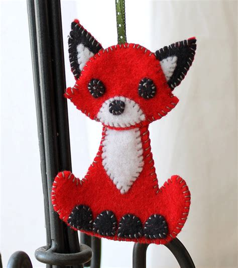 Handmade Ornament Patterns - fox felt ornament handmade 25 00 via etsy