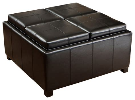 Ottoman Coffee Table Tray Durango 4 Tray Top Storage Ottoman Coffee Table Contemporary Ottomans And Cubes By Great
