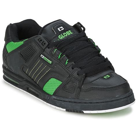 globe shoes low top trainers globe sabre black green free delivery