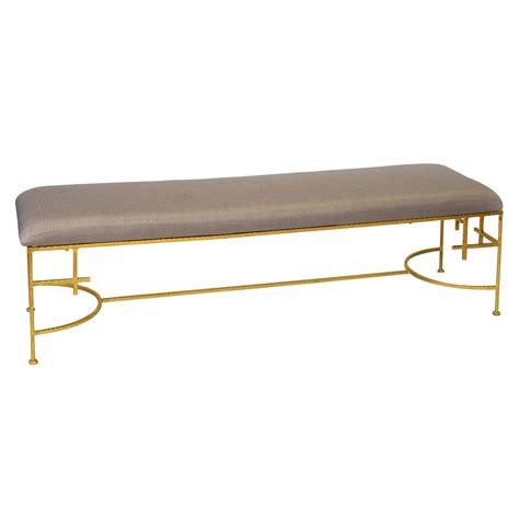 gold bench limelight hollywood regency light brown linen gold bench
