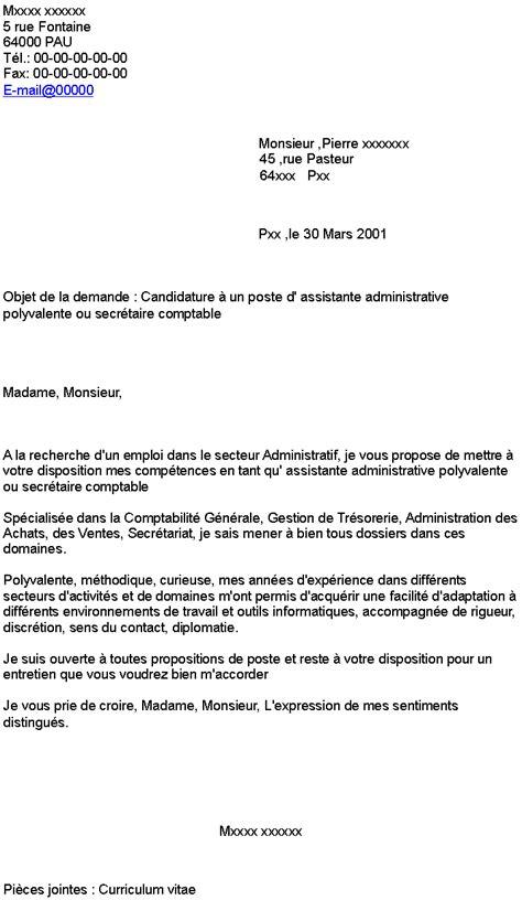 Lettre De Motivation De Secrétaire Polyvalente Candidature 224 Un Poste D Assistante Administrative Polyvalente Ou Secr 233 Taire Comptable