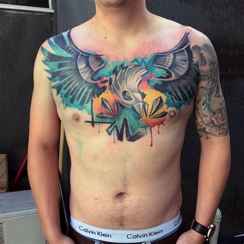 modern traditional style colored chest tattoo of big