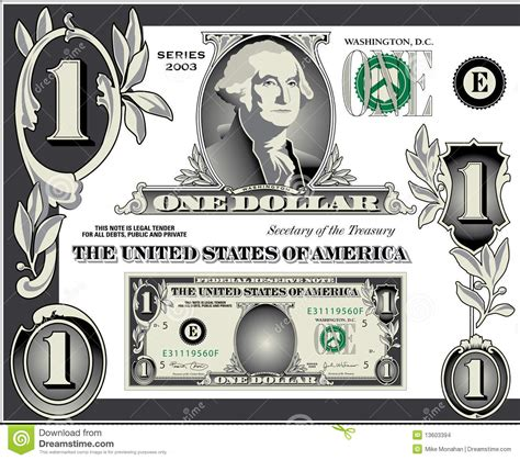 money dollars and design elements vector u s dollar bill elements stock images image 13603394