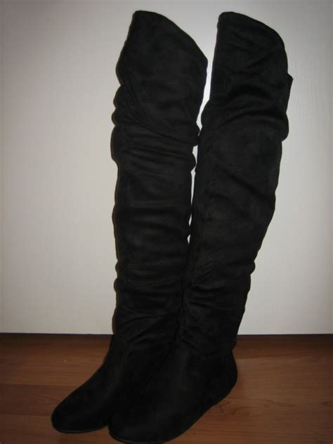 suede slouch thigh high fashion dress flat boots all sz ebay