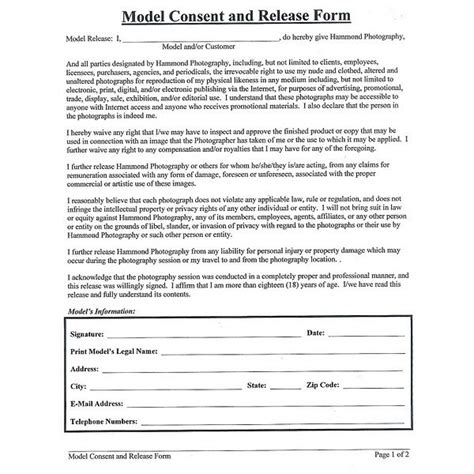 photography consent form personal release uw brand