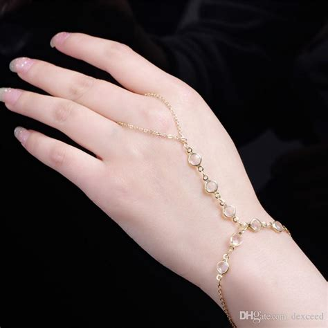 2018 European New Style Gold Chain Women'S Bracelet With Attached Ring Clearly Crystal Beads