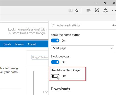 turn on or off make microsoft edge default browser prompt disable uninstall adobe flash shockwave in chrome ie