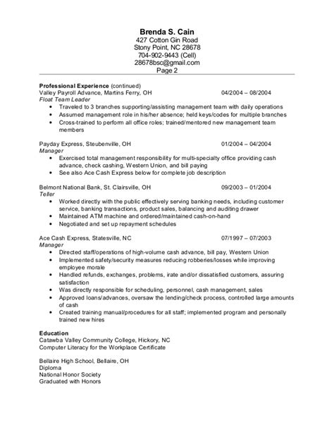 Resume Check by Check Cashing Resume Resume Ideas
