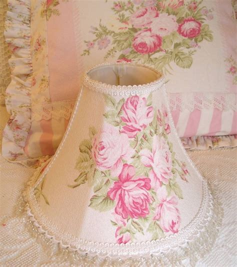 shabby lamp shade pink roses barkcloth fabric lace 11