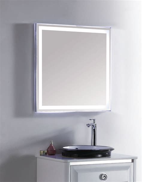 bathroom wall mounted led lighted vanity mirror 27 x 28 fab glass and mirror modern bathroom led lighted wall