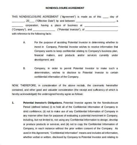 business plan non disclosure agreement template 19 word non disclosure agreement templates free