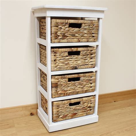 Hartleys Large White 4 Basket Chest Home Storage Unit Wicker Basket Bathroom Storage