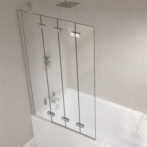 folding shower screens bath 4 panel semi frameless folding bath screen folding bath