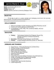 philippines resume sle resumes design