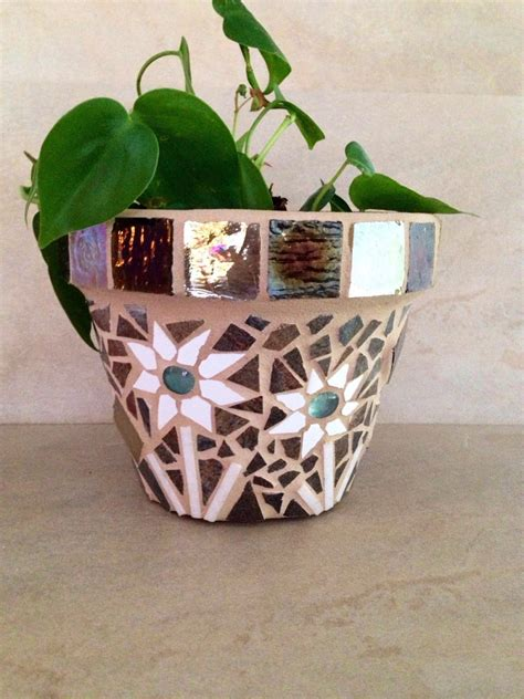 Handmade Flower Pots - mosaic planter fall flower pot outdoor planter handmade
