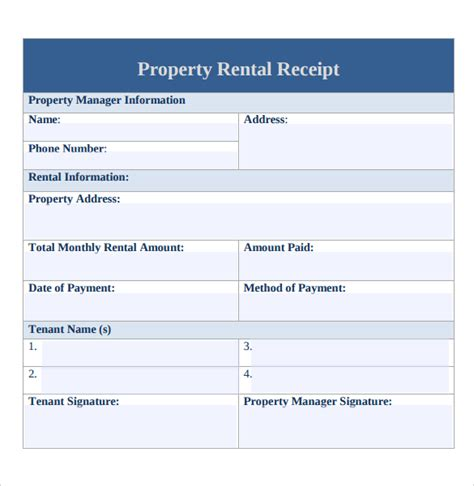 7 rent receipt templates free sles exles format