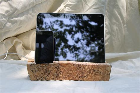 handcrafted wooden ipad stand  iphone dock gadgetsin