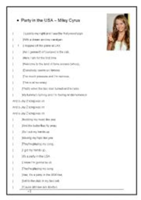 printable lyrics to party in the usa english teaching worksheets the usa