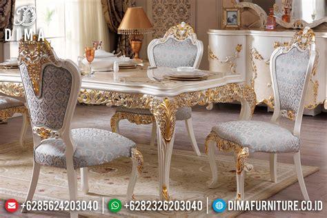 Makan Meja Di Golden Leaf mebel jepara set meja makan mewah ukiran klasik luxury ivory gold st 0501 sofa tamu jepara