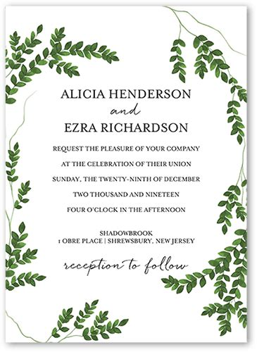 greenery code charming greenery 5x7 wedding invitation cards shutterfly
