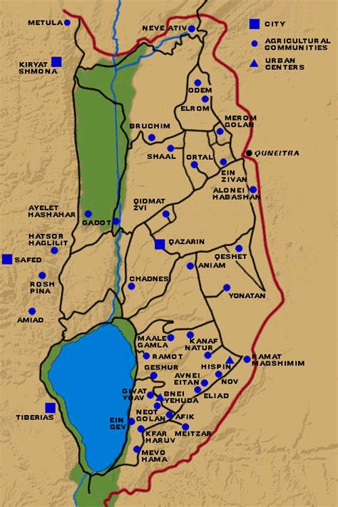 middle east map golan heights map of golan heights communities library