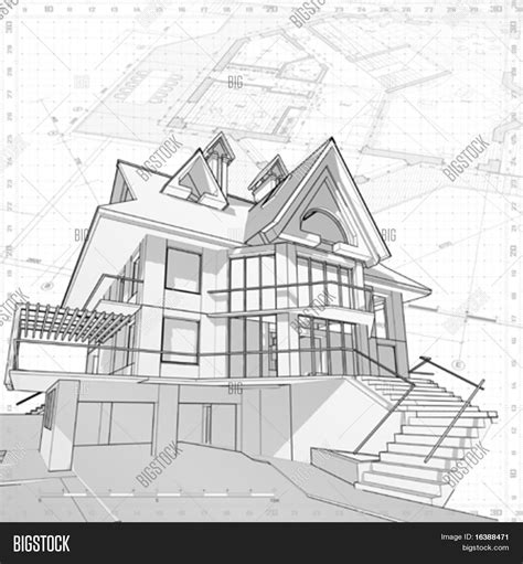 3d house vector technical draw vector photo bigstock