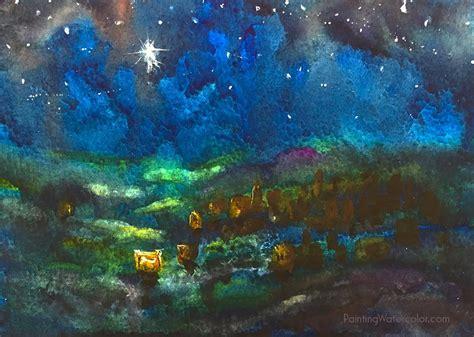 watercolor tutorial starry night 12 days of christmas cards cardinal