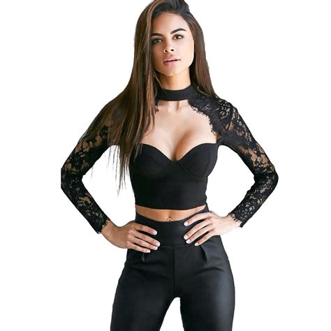 fashion clothing bustier bralette crop tops open chest lace sleeve blouse