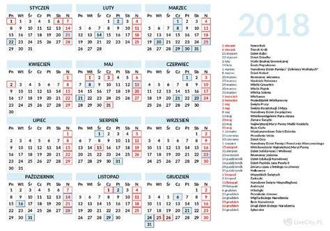 Kalendarz Z Dniami Wolnymi 2018 Kalendarz 2018 Do Druku