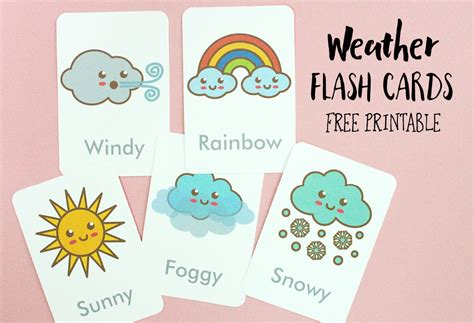 free printable flash cards com free printable weather flash cards