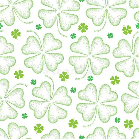pattern dotted hole leaf green vector seamless pattern with dotted lucky four leaf clover