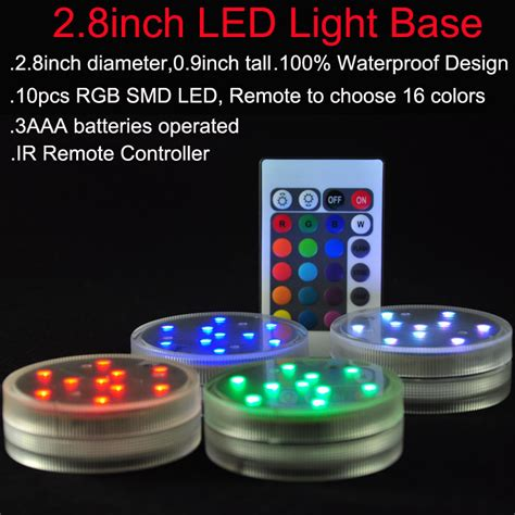 submersible led lights with remote control 3aaa battery operated ir remote controlled 10 multicolors