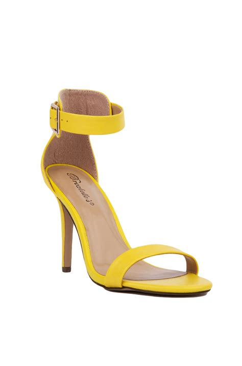 yellow heeled sandals single sole open toe ankle yellow heeled