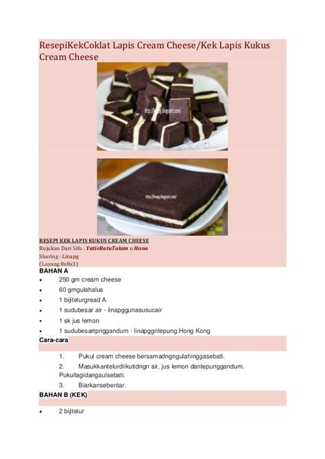 Cetakan Coklat 2 Dimensi 1 resepi kek coklat lapis cheese