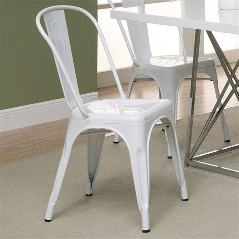 White Metal Dining Chairs Jasper White Metal Cafe Dining Chairs Dining Room Furniture