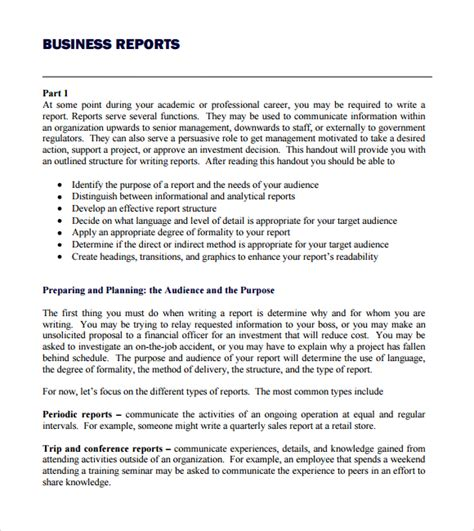 Writing A Report Format Exle business report template cyberuse