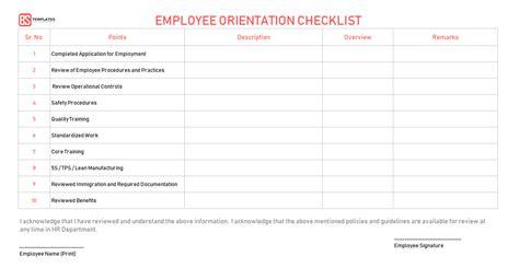 New Employee Orientation Checklist Word Excel Pdf Templates New Hire Orientation Template