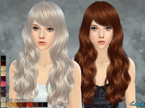 sims 4 long wavy hair without bangs cazy s sorrow hairstyle sims 4