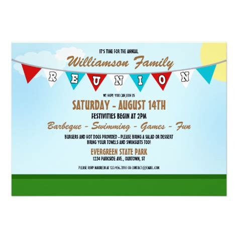 free family reunion invitations templates summer family reunion invitation 5 quot x 7 quot invitation card