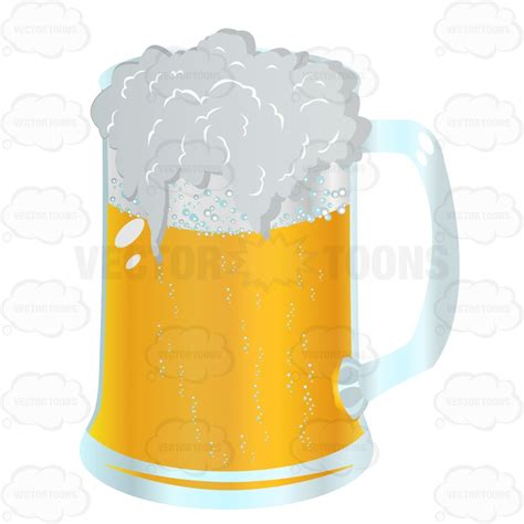 Pretty Mugs Beer Mug Full Of Light Colored Beer Froth Spilling Over