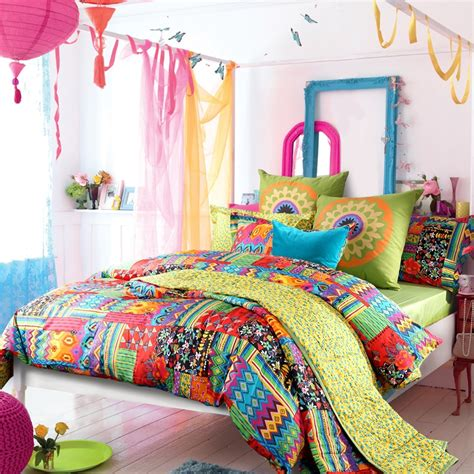 colorful comforter sets queen peacock blue yellow and red neon color bohemian chic gypsy